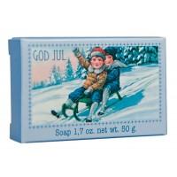 God Jul såpe 50gr - barn på slede
